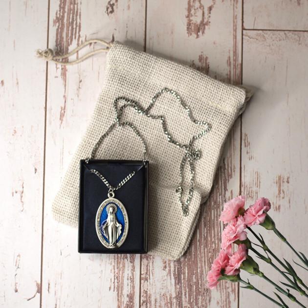 Medalla Esmaltada y cadena Virgen...